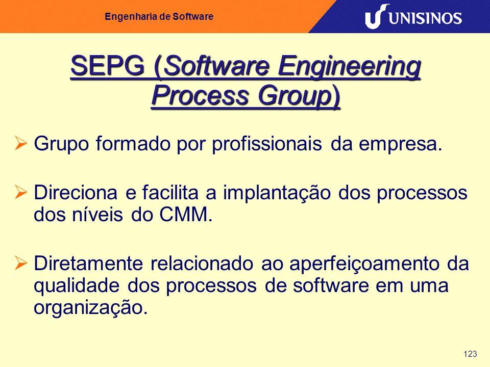 123 Engenharia de Software SEPG (Software Engineering Process Group) Grupo formado por profissionais da empresa. Direciona e facilita a implantação do