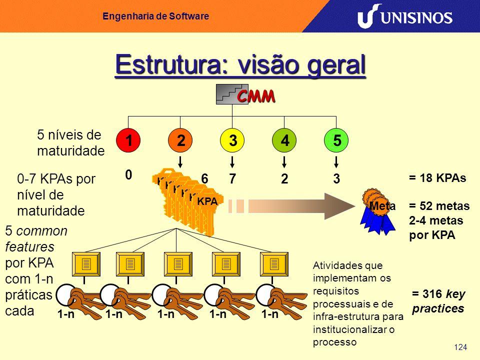 124 Engenharia de Software Estrutura: visão geral CMM 12345 5 níveis de maturidade KPA 0 67230-7 KPAs por nível de maturidade = 18 KPAs Meta = 52 meta