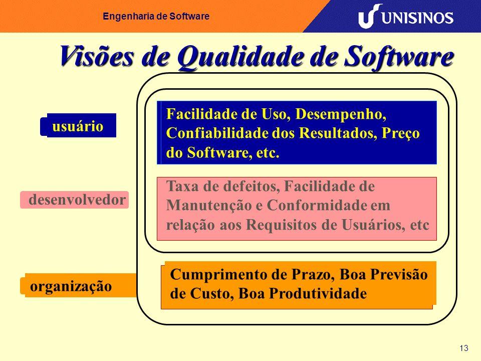 13 Engenharia de Software Visões de Qualidade de Software usuário Facilidade de Uso, Desempenho, Confiabilidade dos Resultados, Preço do Software, etc