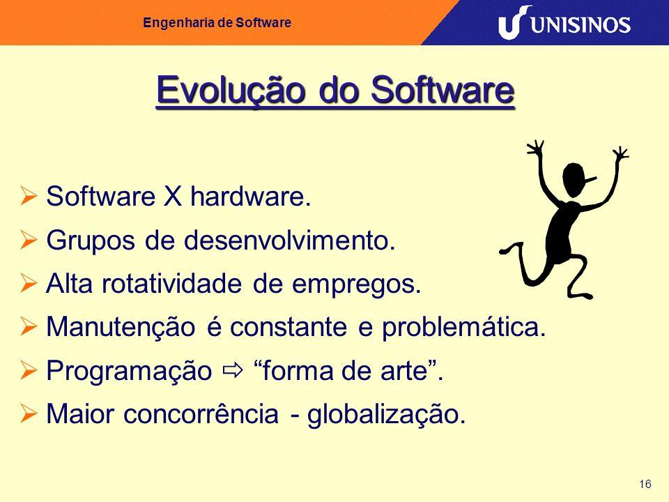16 Engenharia de Software Evolução do Software Software X hardware. Grupos de desenvolvimento. Alta rotatividade de empregos. Manutenção é constante e
