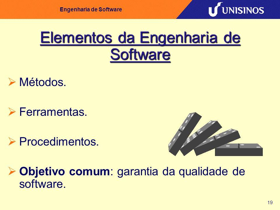 19 Engenharia de Software Elementos da Engenharia de Software Métodos. Ferramentas. Procedimentos. Objetivo comum: garantia da qualidade de software.