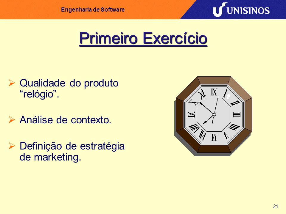 21 Engenharia de Software Primeiro Exercício Qualidade do produto relógio. Análise de contexto. Definição de estratégia de marketing.