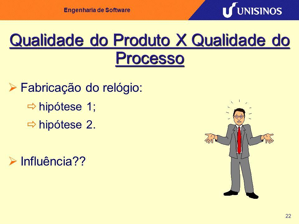 22 Engenharia de Software Qualidade do Produto X Qualidade do Processo Fabricação do relógio: hipótese 1; hipótese 2. Influência??