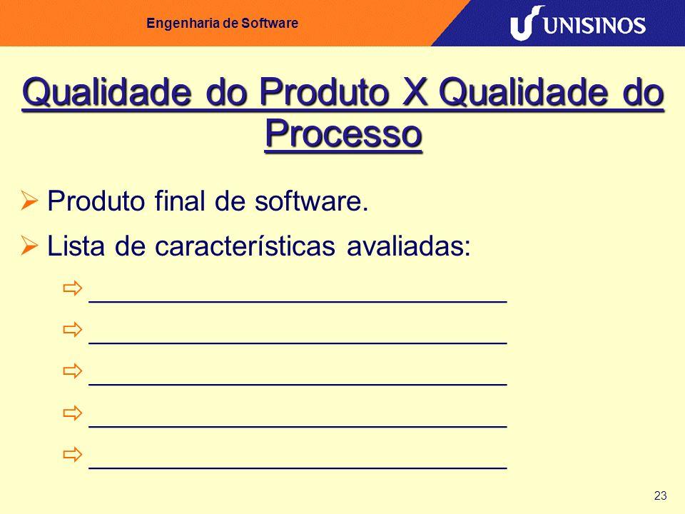 23 Engenharia de Software Qualidade do Produto X Qualidade do Processo Produto final de software. Lista de características avaliadas: ________________