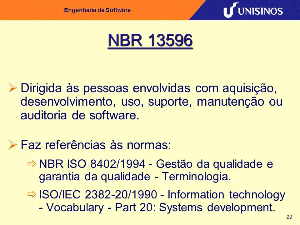 29 Engenharia de Software NBR 13596 Dirigida às pessoas envolvidas com aquisição, desenvolvimento, uso, suporte, manutenção ou auditoria de software.