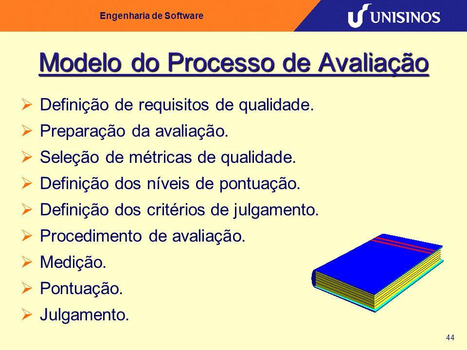 44 Engenharia de Software Modelo do Processo de Avaliação Definição de requisitos de qualidade. Preparação da avaliação. Seleção de métricas de qualid