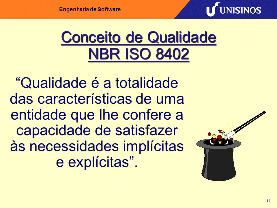 6 Engenharia de Software Conceito de Qualidade NBR ISO 8402 Qualidade é a totalidade das características de uma entidade que lhe confere a capacidade