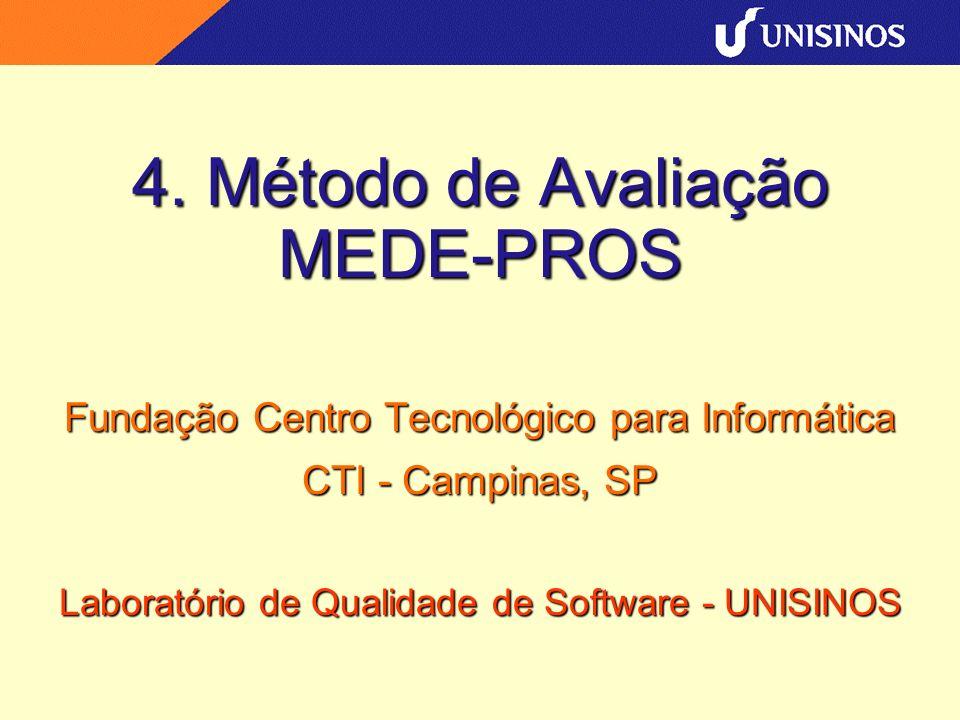 4. Método de Avaliação MEDE-PROS Fundação Centro Tecnológico para Informática CTI - Campinas, SP Laboratório de Qualidade de Software - UNISINOS