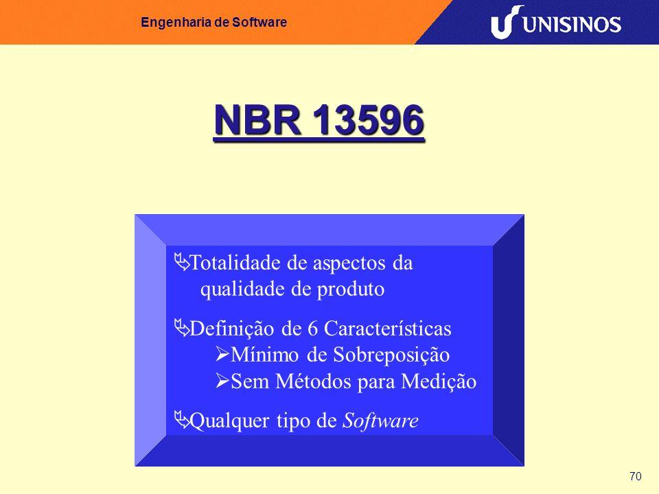 70 Engenharia de Software NBR 13596 Totalidade de aspectos da qualidade de produto Definição de 6 Características Mínimo de Sobreposição Sem Métodos p