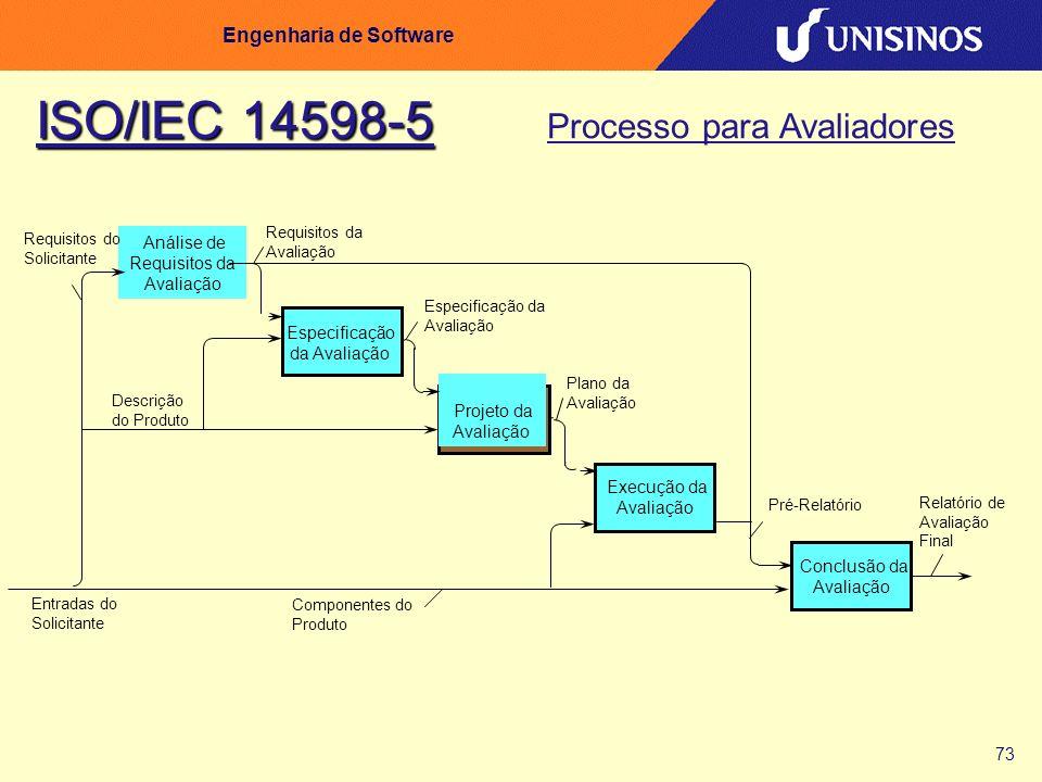73 Engenharia de Software Análise de Requisitos da Avaliação Especificação da Avaliação Projeto da Avaliação Execução da Avaliação Conclusão da Avalia