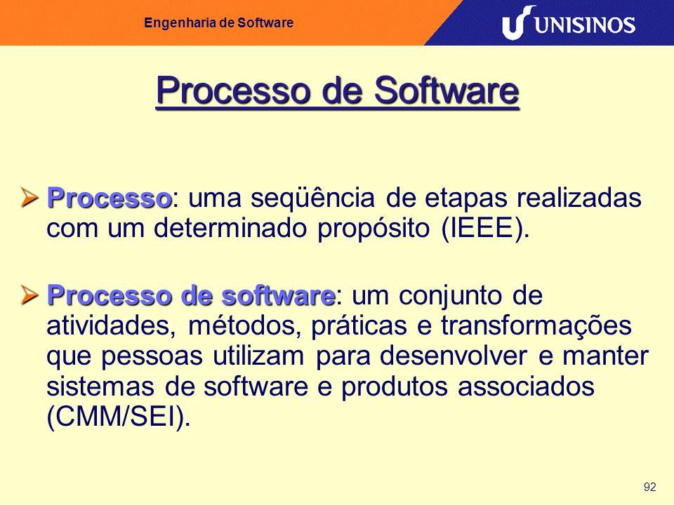 92 Engenharia de Software Processo de Software Processo Processo: uma seqüência de etapas realizadas com um determinado propósito (IEEE). Processo de
