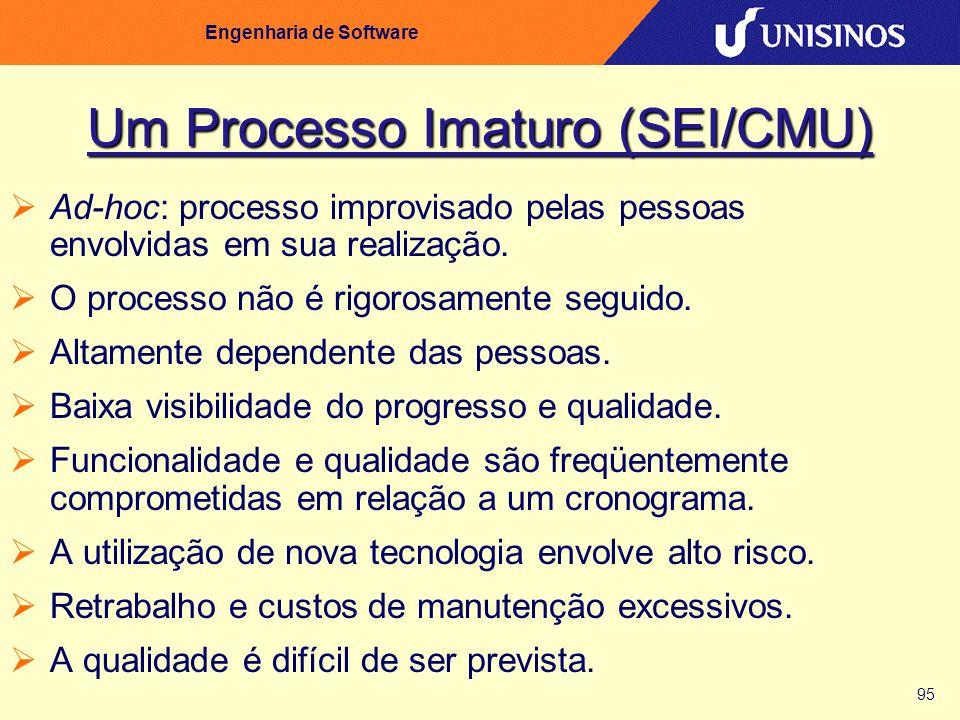 95 Engenharia de Software Um Processo Imaturo (SEI/CMU) Ad-hoc: processo improvisado pelas pessoas envolvidas em sua realização. O processo não é rigo