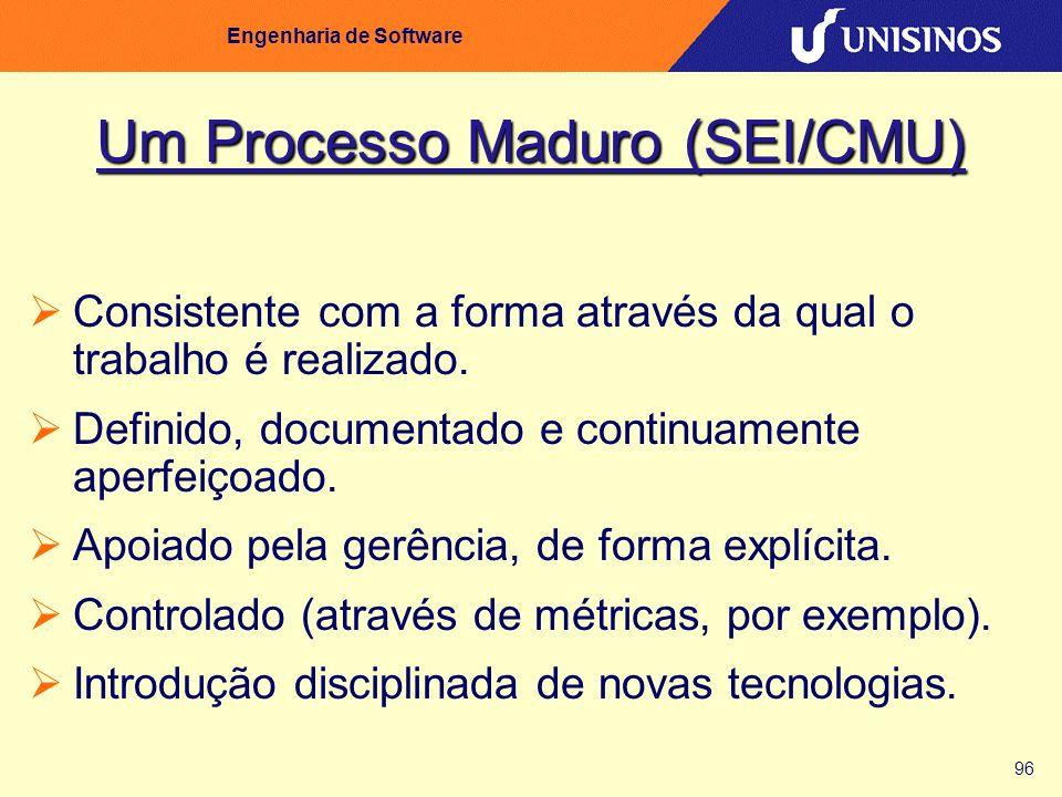 96 Engenharia de Software Um Processo Maduro (SEI/CMU) Consistente com a forma através da qual o trabalho é realizado. Definido, documentado e continu