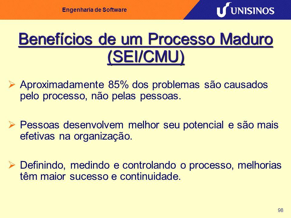 98 Engenharia de Software Benefícios de um Processo Maduro (SEI/CMU) Aproximadamente 85% dos problemas são causados pelo processo, não pelas pessoas.