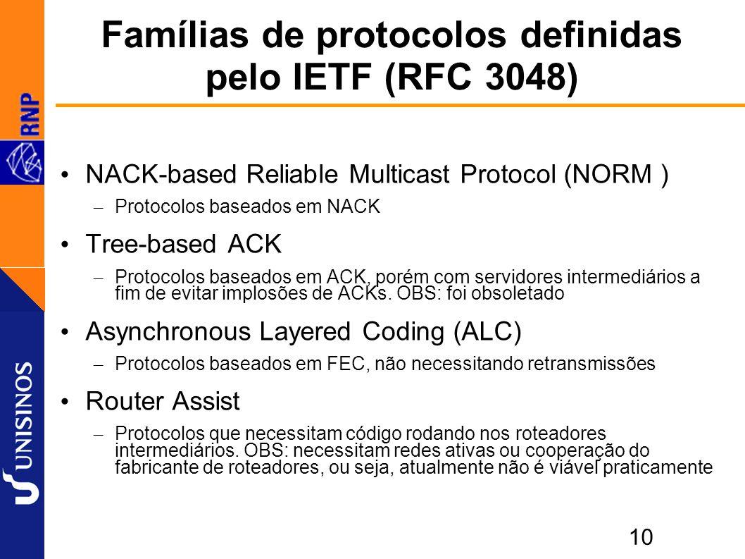 10 Famílias de protocolos definidas pelo IETF (RFC 3048) NACK-based Reliable Multicast Protocol (NORM ) – Protocolos baseados em NACK Tree-based ACK – Protocolos baseados em ACK, porém com servidores intermediários a fim de evitar implosões de ACKs.