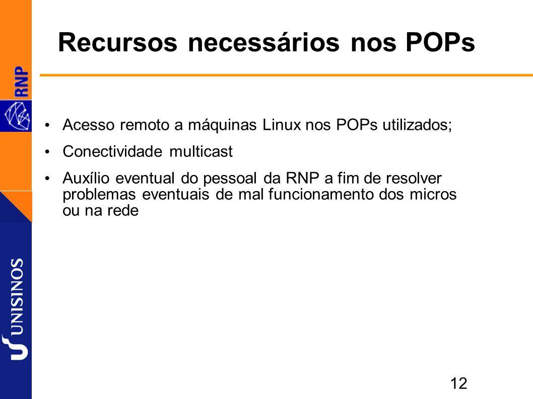 12 Recursos necessários nos POPs Acesso remoto a máquinas Linux nos POPs utilizados; Conectividade multicast Auxílio eventual do pessoal da RNP a fim de resolver problemas eventuais de mal funcionamento dos micros ou na rede