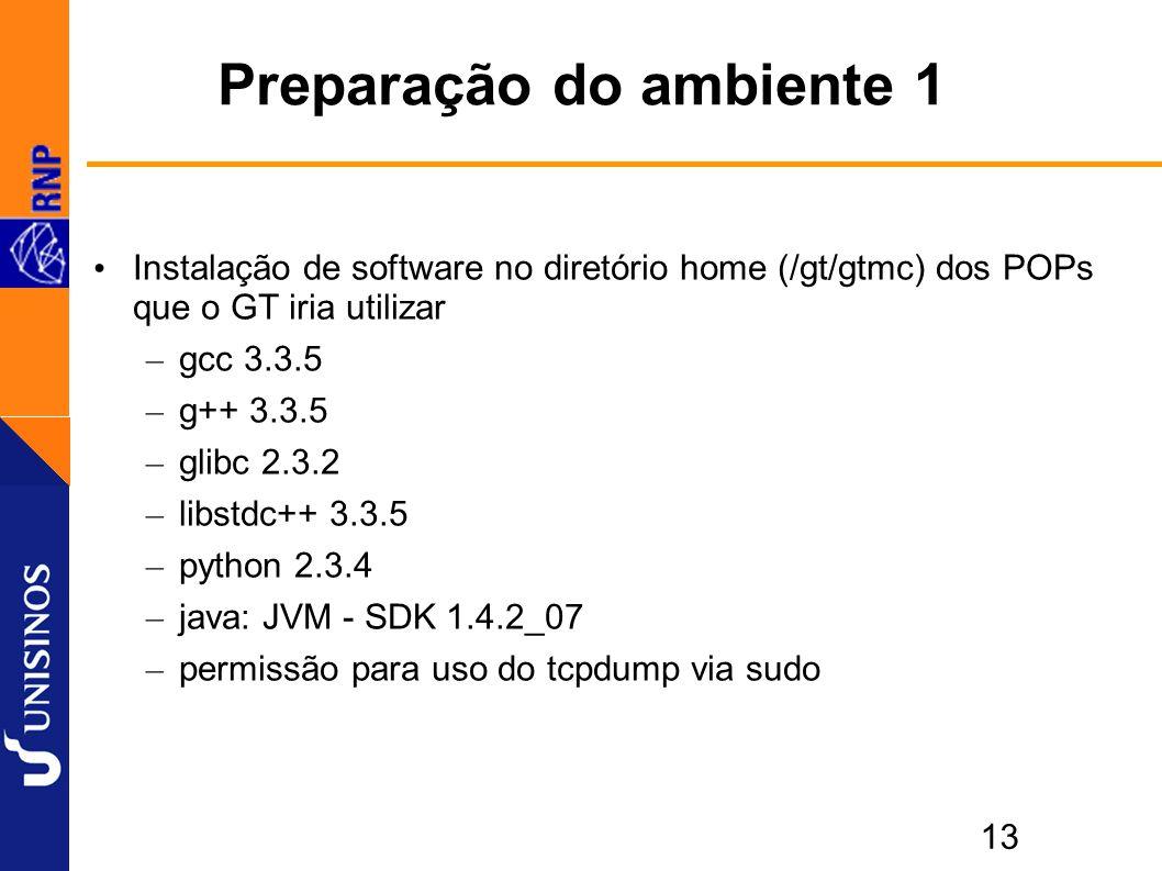 13 Preparação do ambiente 1 Instalação de software no diretório home (/gt/gtmc) dos POPs que o GT iria utilizar – gcc 3.3.5 – g++ 3.3.5 – glibc 2.3.2 – libstdc++ 3.3.5 – python 2.3.4 – java: JVM - SDK 1.4.2_07 – permissão para uso do tcpdump via sudo