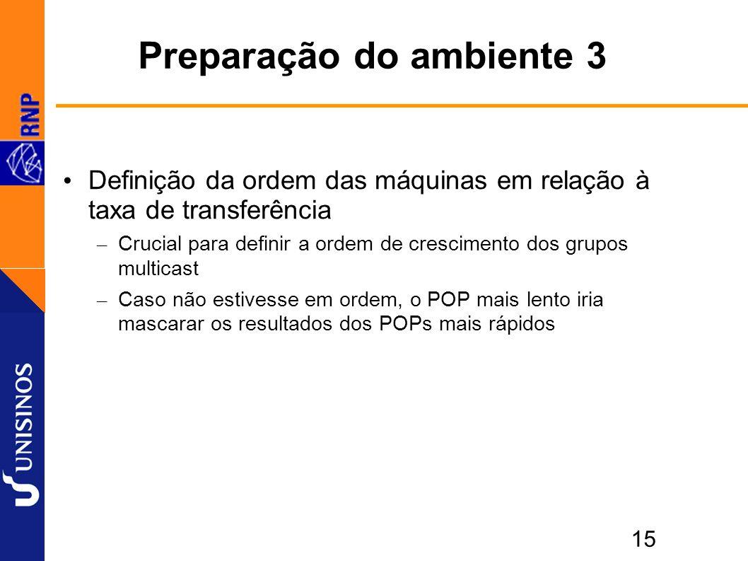 15 Preparação do ambiente 3 Definição da ordem das máquinas em relação à taxa de transferência – Crucial para definir a ordem de crescimento dos grupos multicast – Caso não estivesse em ordem, o POP mais lento iria mascarar os resultados dos POPs mais rápidos
