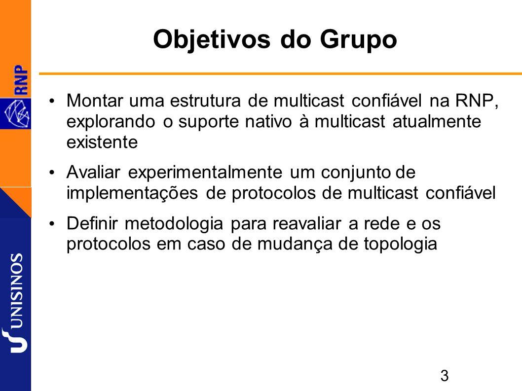 3 Objetivos do Grupo Montar uma estrutura de multicast confiável na RNP, explorando o suporte nativo à multicast atualmente existente Avaliar experimentalmente um conjunto de implementações de protocolos de multicast confiável Definir metodologia para reavaliar a rede e os protocolos em caso de mudança de topologia