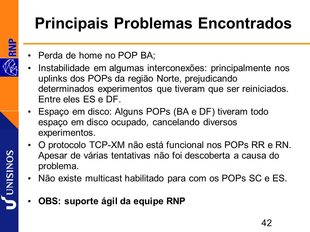 42 Principais Problemas Encontrados Perda de home no POP BA; Instabilidade em algumas interconexões: principalmente nos uplinks dos POPs da região Norte, prejudicando determinados experimentos que tiveram que ser reiniciados.