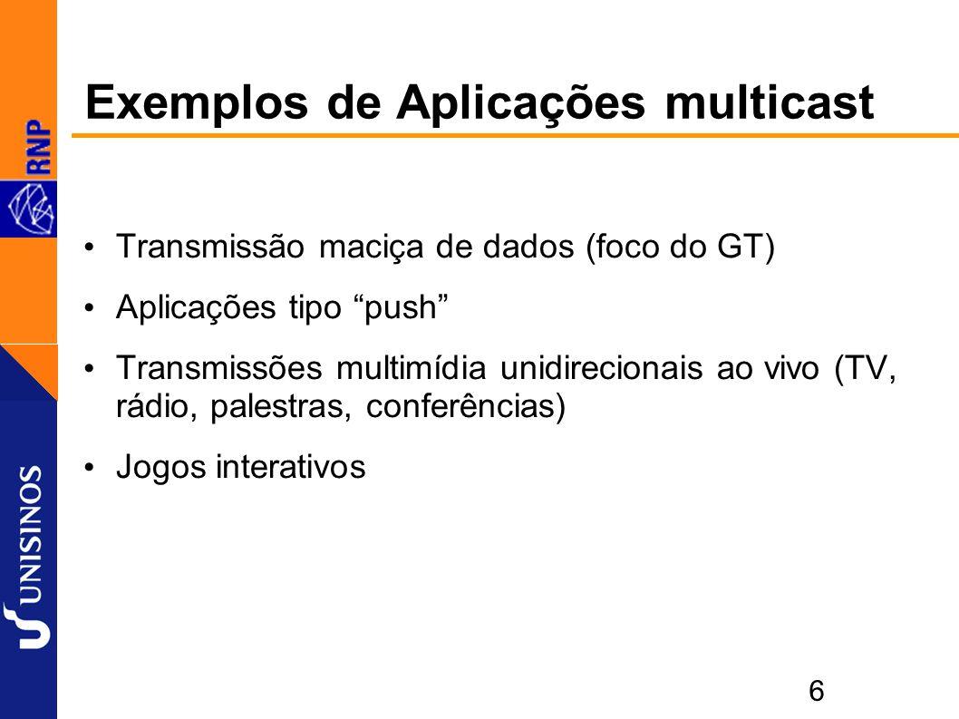 6 Exemplos de Aplicações multicast Transmissão maciça de dados (foco do GT) Aplicações tipo push Transmissões multimídia unidirecionais ao vivo (TV, rádio, palestras, conferências) Jogos interativos