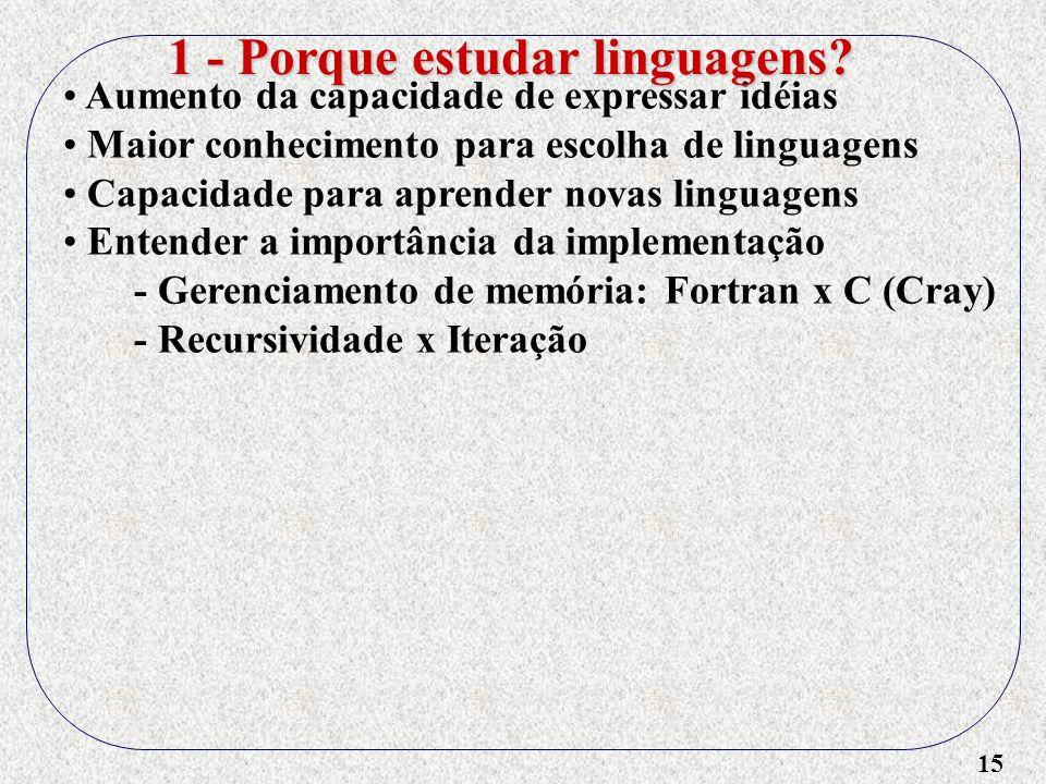 15 Aumento da capacidade de expressar idéias Maior conhecimento para escolha de linguagens Capacidade para aprender novas linguagens Entender a import