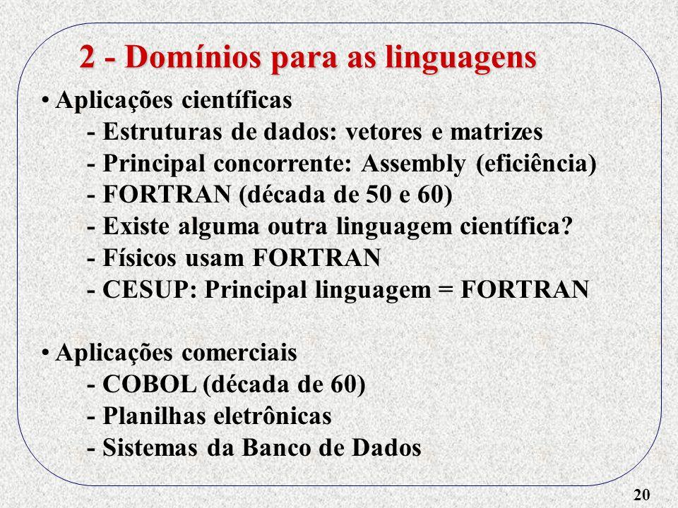 20 Aplicações científicas - Estruturas de dados: vetores e matrizes - Principal concorrente: Assembly (eficiência) - FORTRAN (década de 50 e 60) - Exi