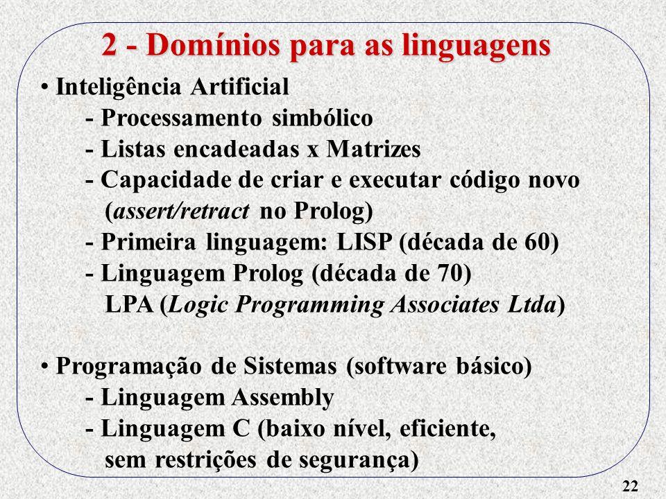 22 Inteligência Artificial - Processamento simbólico - Listas encadeadas x Matrizes - Capacidade de criar e executar código novo (assert/retract no Pr