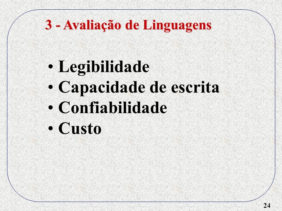 24 3 - Avaliação de Linguagens Legibilidade Capacidade de escrita Confiabilidade Custo