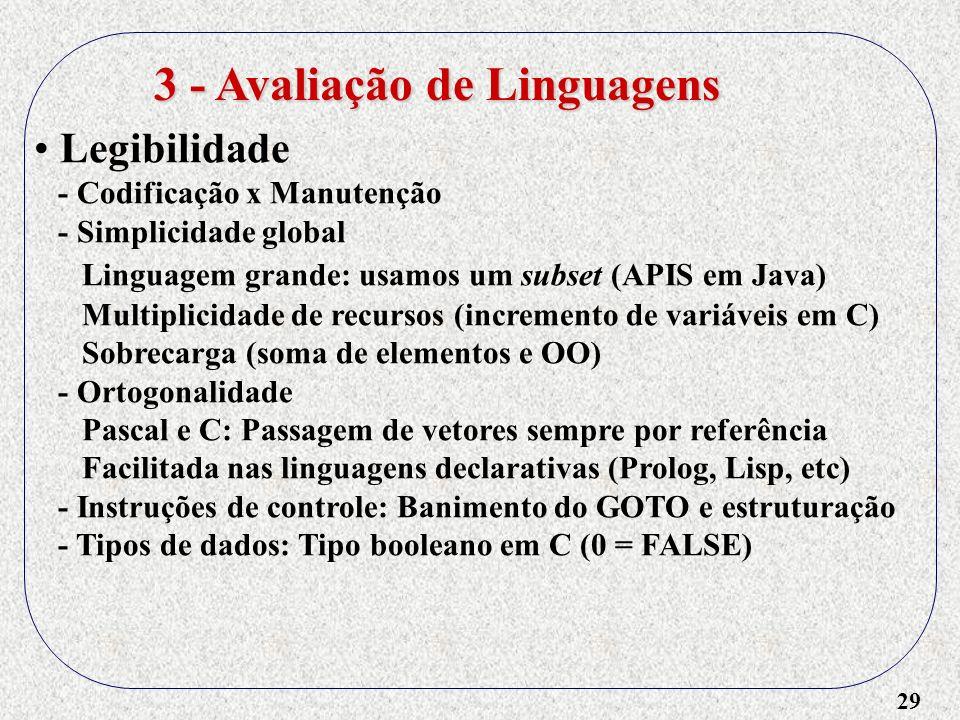 29 Legibilidade - Codificação x Manutenção - Simplicidade global Linguagem grande: usamos um subset (APIS em Java) Multiplicidade de recursos (increme