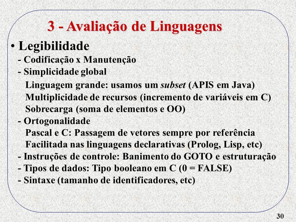 30 Legibilidade - Codificação x Manutenção - Simplicidade global Linguagem grande: usamos um subset (APIS em Java) Multiplicidade de recursos (increme