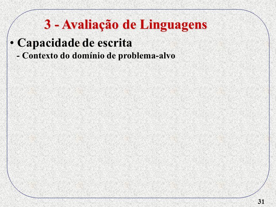 31 3 - Avaliação de Linguagens Capacidade de escrita - Contexto do domínio de problema-alvo