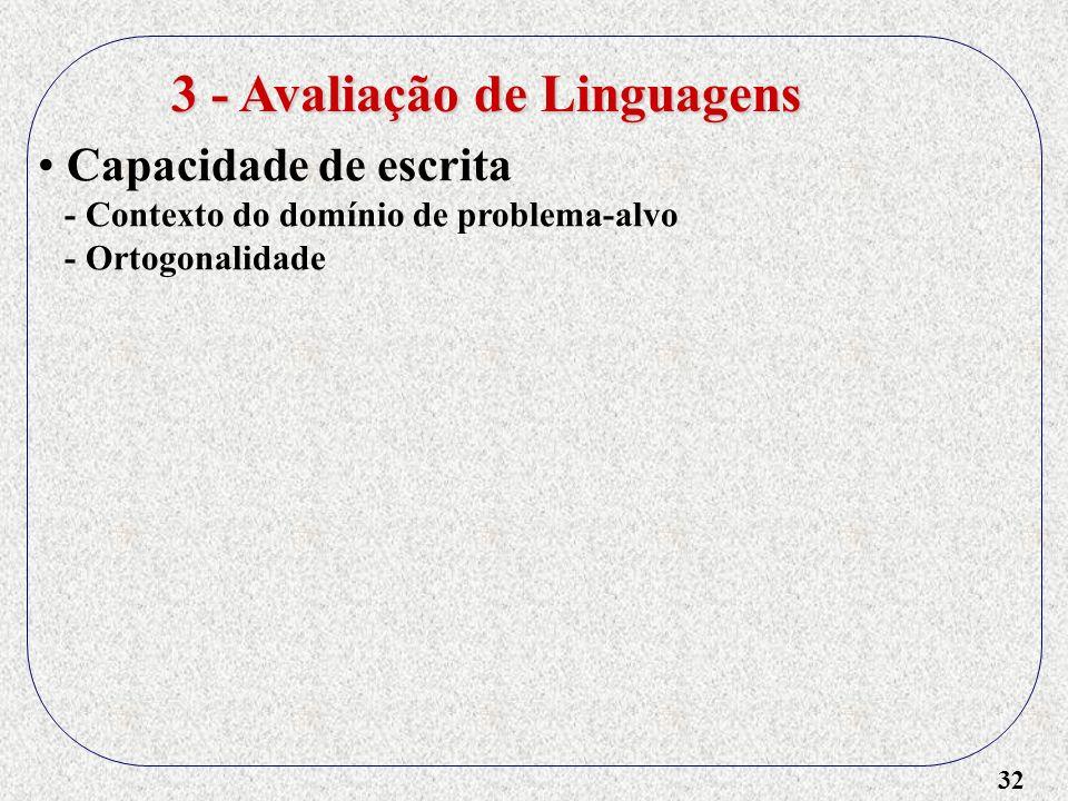 32 3 - Avaliação de Linguagens Capacidade de escrita - Contexto do domínio de problema-alvo - Ortogonalidade