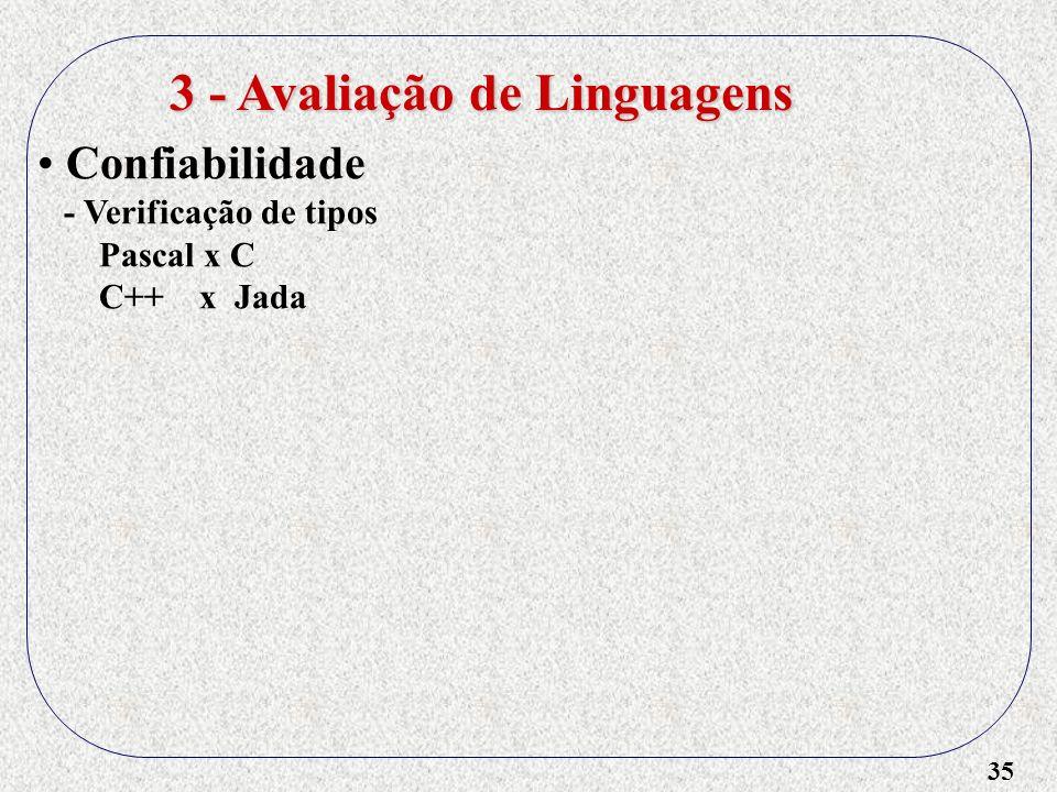 35 3 - Avaliação de Linguagens Confiabilidade - Verificação de tipos Pascal x C C++ x Jada
