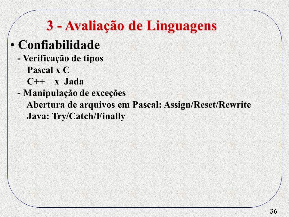 36 3 - Avaliação de Linguagens Confiabilidade - Verificação de tipos Pascal x C C++ x Jada - Manipulação de exceções Abertura de arquivos em Pascal: A