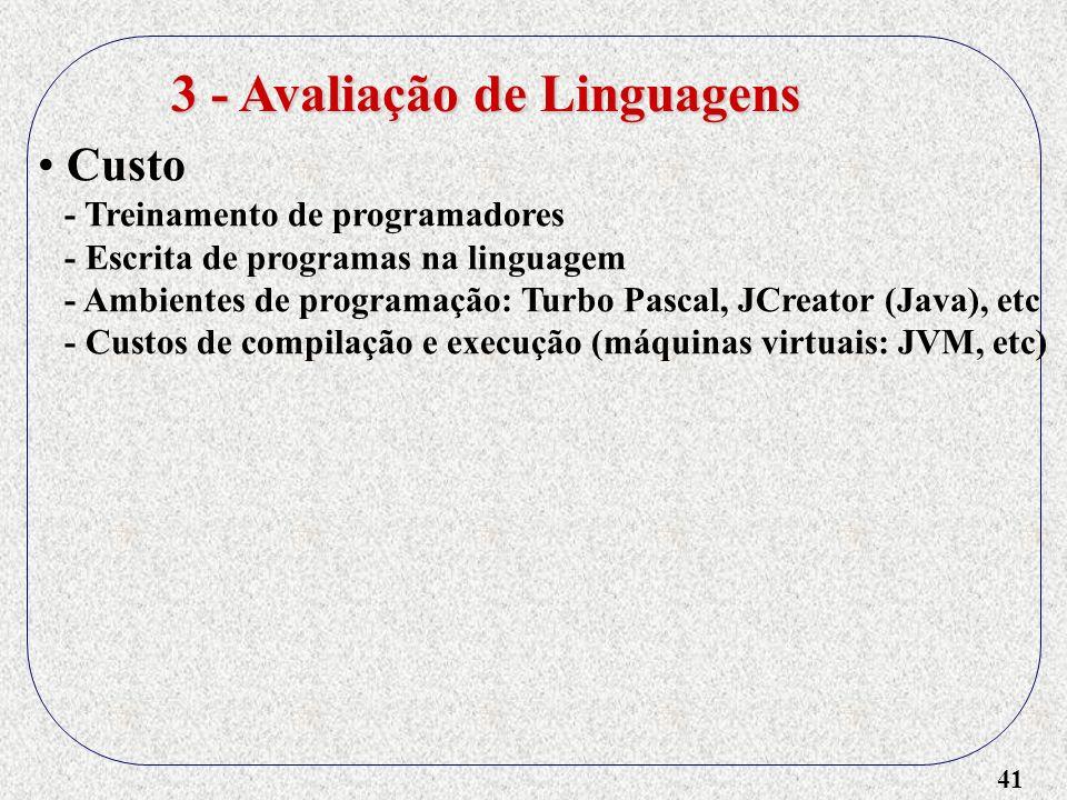 41 3 - Avaliação de Linguagens Custo - Treinamento de programadores - Escrita de programas na linguagem - Ambientes de programação: Turbo Pascal, JCre