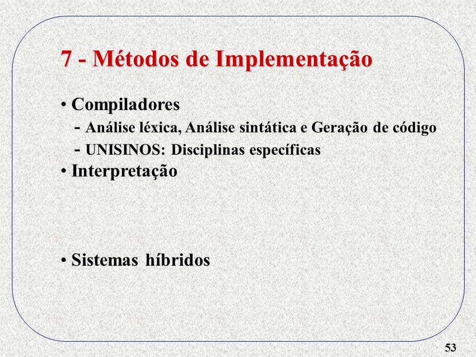 53 7 - Métodos de Implementação Compiladores - Análise léxica, Análise sintática e Geração de código - UNISINOS: Disciplinas específicas Interpretação
