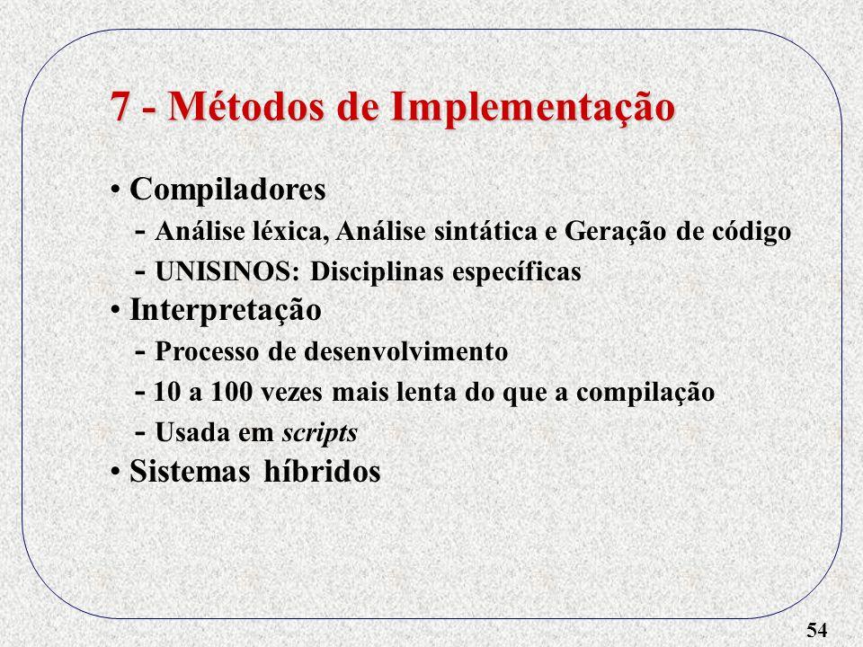 54 7 - Métodos de Implementação Compiladores - Análise léxica, Análise sintática e Geração de código - UNISINOS: Disciplinas específicas Interpretação
