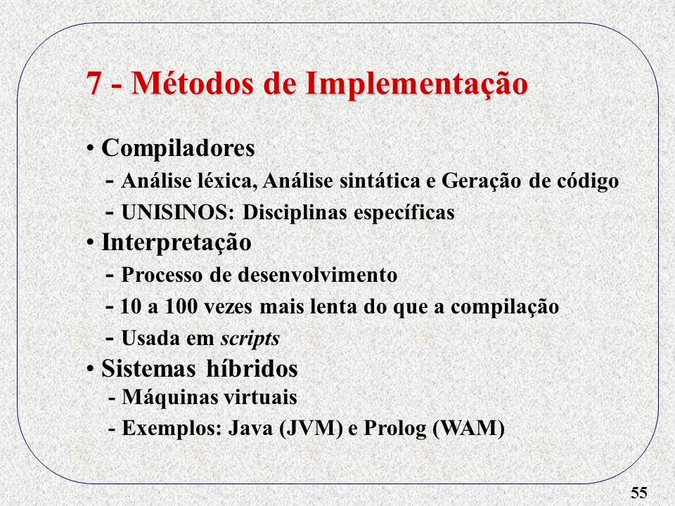55 7 - Métodos de Implementação Compiladores - Análise léxica, Análise sintática e Geração de código - UNISINOS: Disciplinas específicas Interpretação