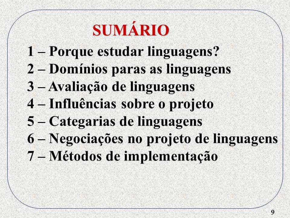 9 SUMÁRIO 1 – Porque estudar linguagens? 2 – Domínios paras as linguagens 3 – Avaliação de linguagens 4 – Influências sobre o projeto 5 – Categarias d