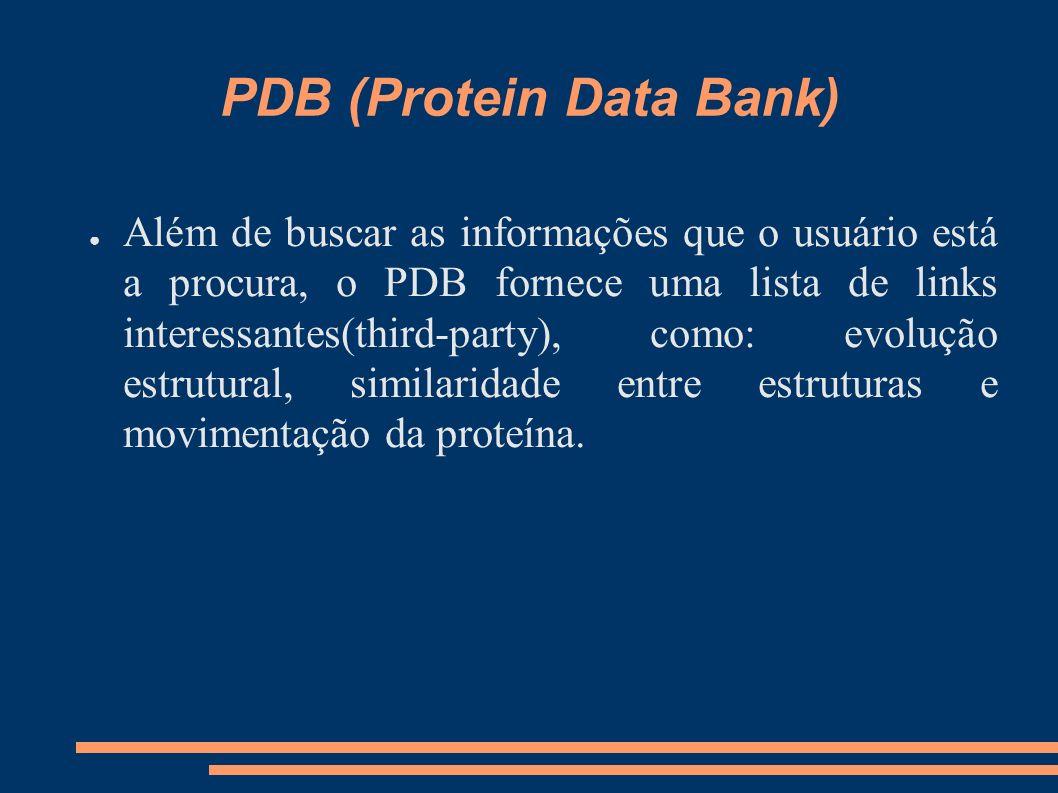 PDB (Protein Data Bank) Além de buscar as informações que o usuário está a procura, o PDB fornece uma lista de links interessantes(third-party), como: