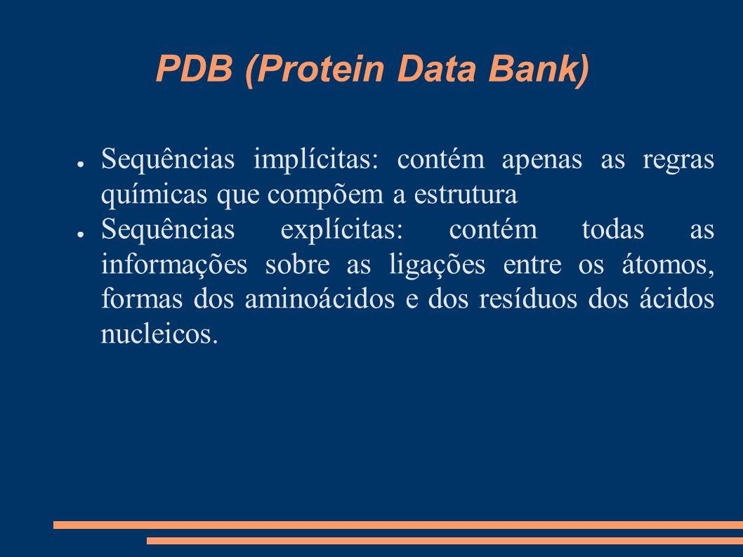 PDB (Protein Data Bank) Sequências implícitas: contém apenas as regras químicas que compõem a estrutura Sequências explícitas: contém todas as informa