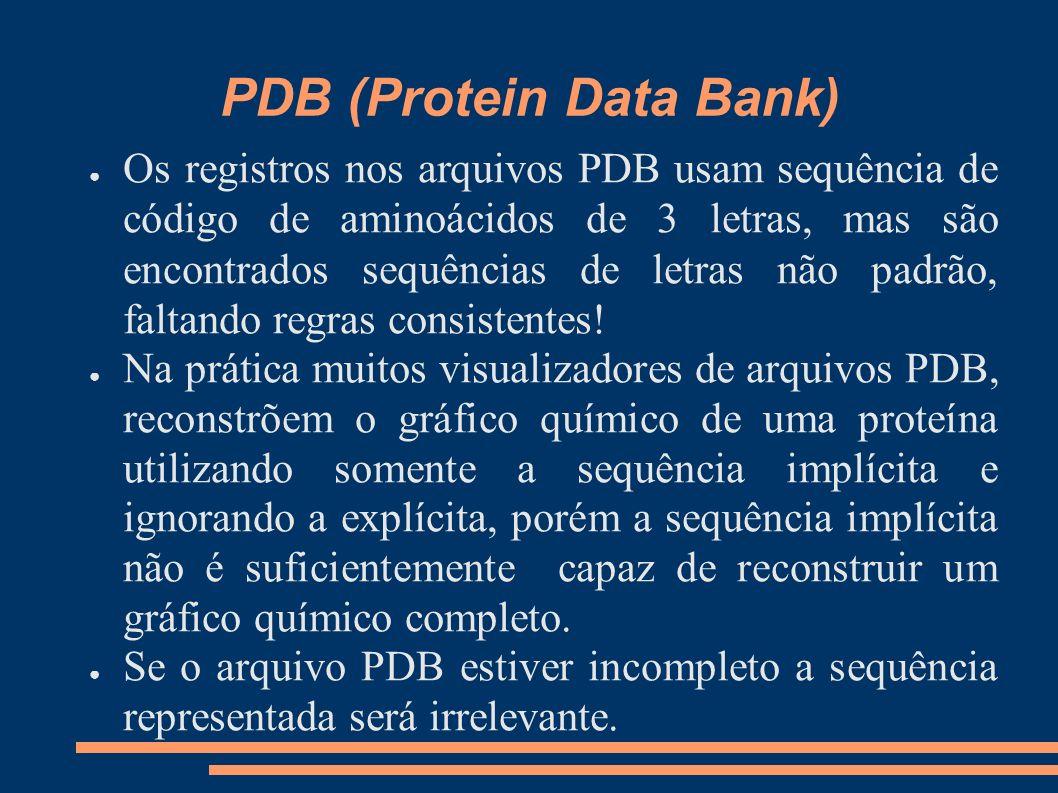 PDB (Protein Data Bank) Os registros nos arquivos PDB usam sequência de código de aminoácidos de 3 letras, mas são encontrados sequências de letras nã
