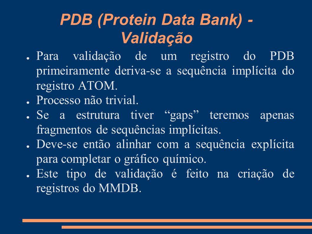 PDB (Protein Data Bank) - Validação Para validação de um registro do PDB primeiramente deriva-se a sequência implícita do registro ATOM. Processo não