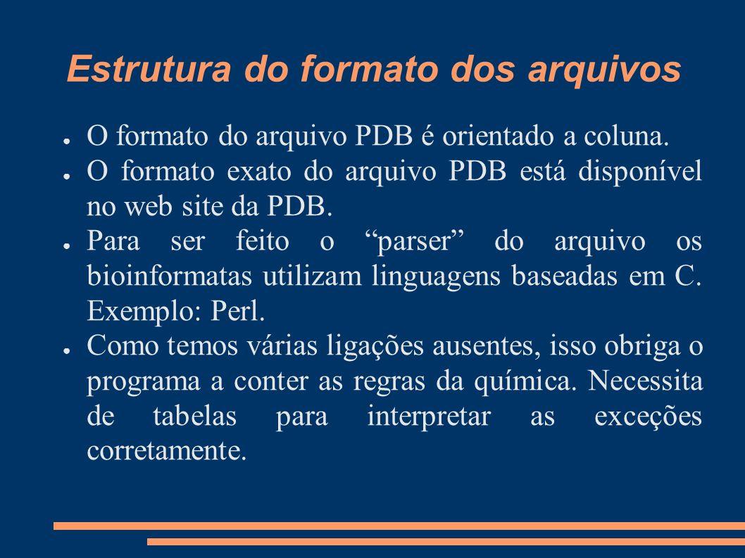 Estrutura do formato dos arquivos O formato do arquivo PDB é orientado a coluna. O formato exato do arquivo PDB está disponível no web site da PDB. Pa