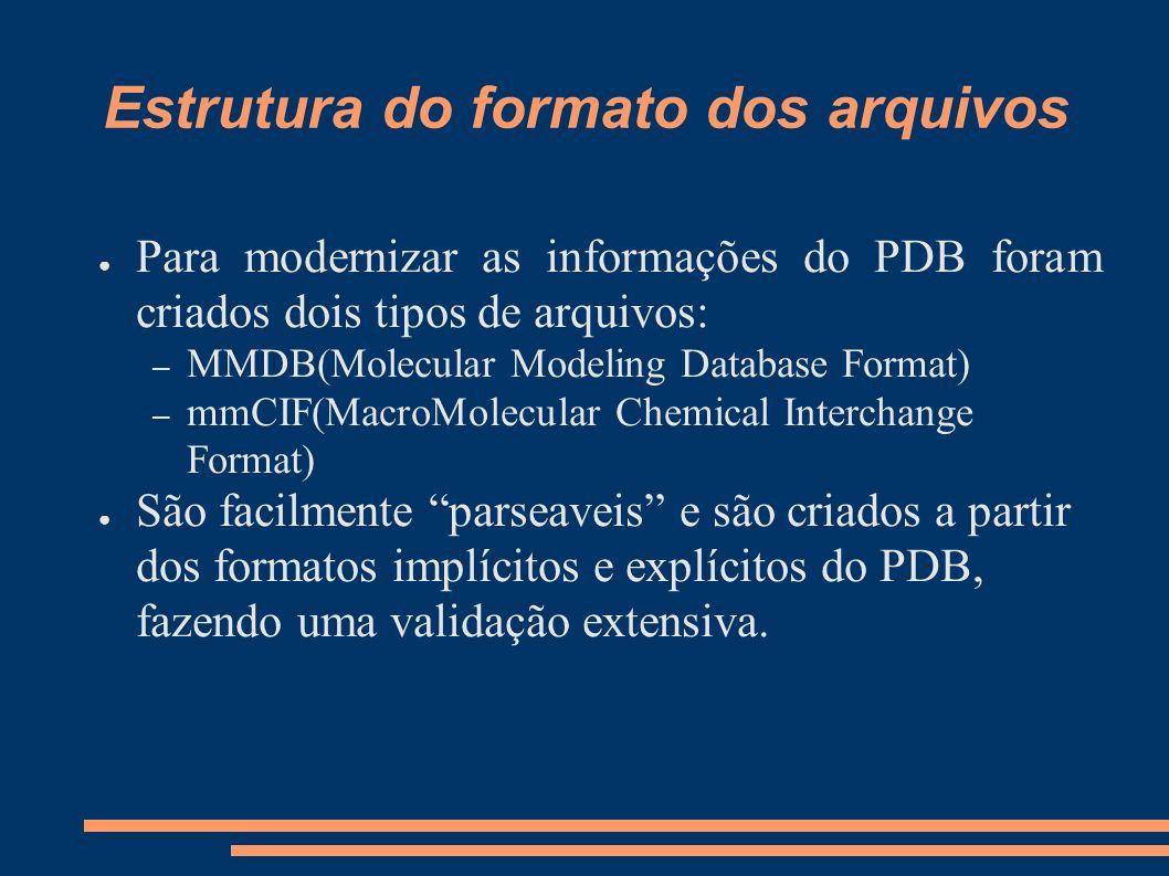 Estrutura do formato dos arquivos Para modernizar as informações do PDB foram criados dois tipos de arquivos: – MMDB(Molecular Modeling Database Forma