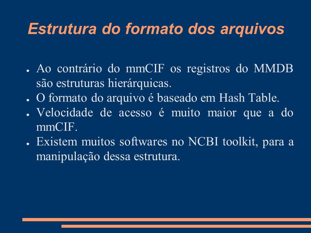 Estrutura do formato dos arquivos Ao contrário do mmCIF os registros do MMDB são estruturas hierárquicas. O formato do arquivo é baseado em Hash Table