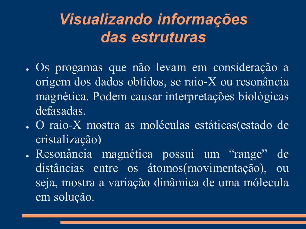 Visualizando informações das estruturas Os progamas que não levam em consideração a origem dos dados obtidos, se raio-X ou resonância magnética. Podem