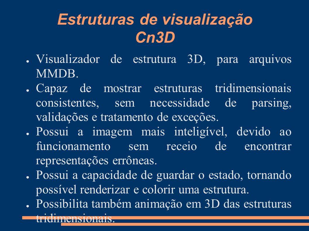 Estruturas de visualização Cn3D Visualizador de estrutura 3D, para arquivos MMDB. Capaz de mostrar estruturas tridimensionais consistentes, sem necess