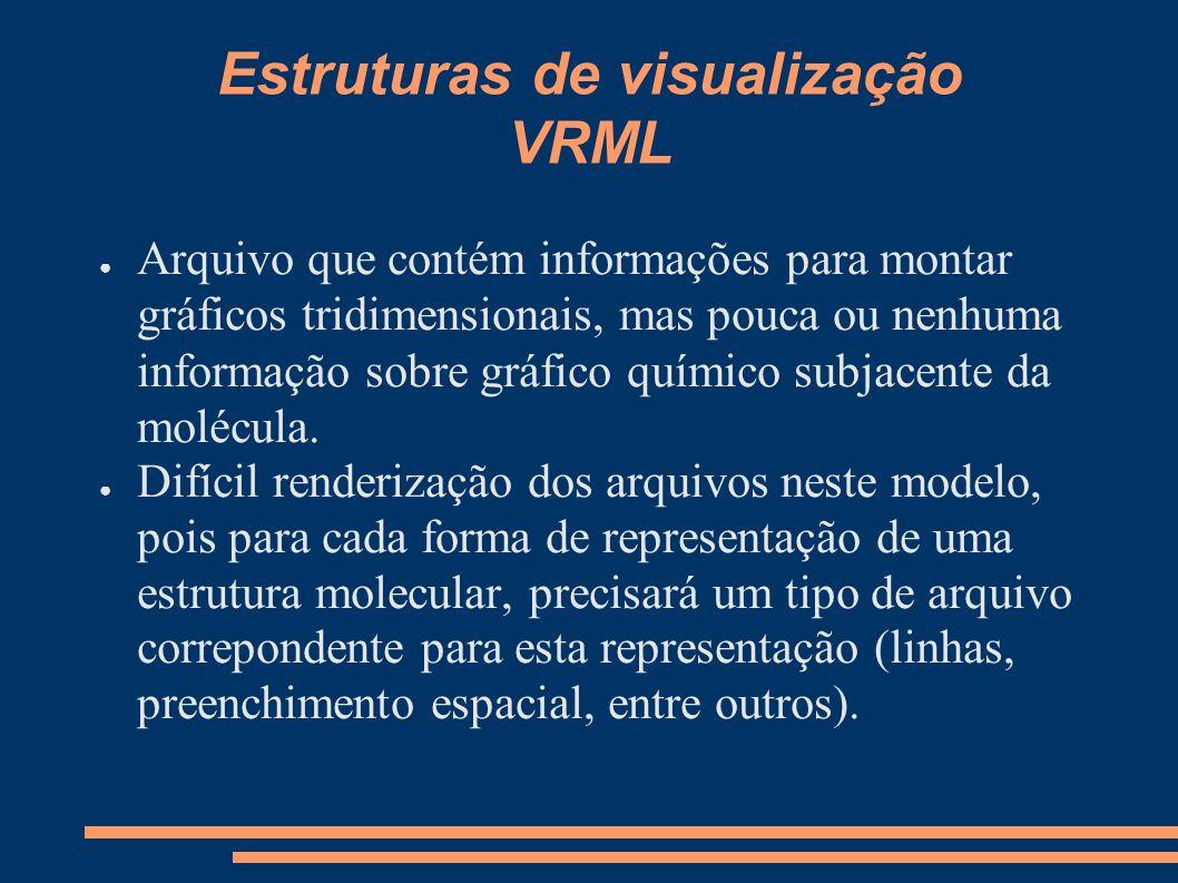 Estruturas de visualização VRML Arquivo que contém informações para montar gráficos tridimensionais, mas pouca ou nenhuma informação sobre gráfico quí
